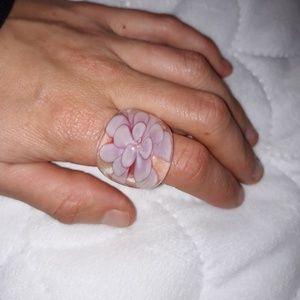 Flower glass ring